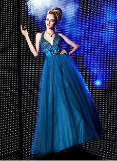 A-Line/Princess Halter Floor-Length Tulle Quinceanera Dress With Ruffle Beading Flower(s)