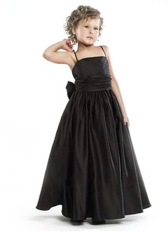 A-Line/Princess Strapless Floor-Length Satin Flower Girl Dress With Ruffle Sash Beading
