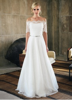 A-Line/Princess Strapless Sweep Train Lace Wedding Dress