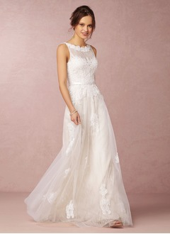 A-Line/Princess Scoop Neck Floor-Length Tulle Lace Wedding Dress With Beading Appliques Lace
