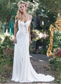 Trumpet/Mermaid Sweetheart Court Train Chiffon Wedding Dress  ...