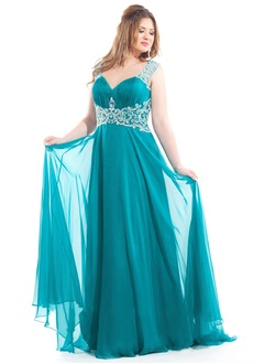A-Line/Princess V-neck Sweep Train Chiffon Prom Dress With Beading