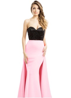 A-Line/Princess Sweetheart Sweep Train Charmeuse Prom Dress With Ruffle Beading