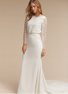 Sheath/Column Scoop Neck Court Train Satin Wedding Dress With Lace