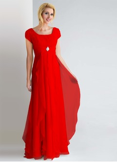 Sheath/Column Square Neckline Floor-Length Chiffon Evening Dress With Ruffle Beading