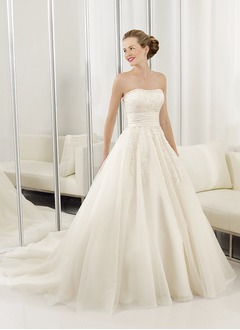 Ball-Gown Strapless Sweetheart Court Train Organza Satin Wedding Dress With Ruffle Lace