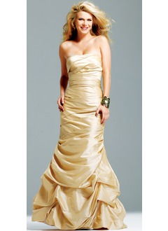 Ball-Gown Strapless Floor-Length Taffeta Quinceanera Dress With Ruffle
