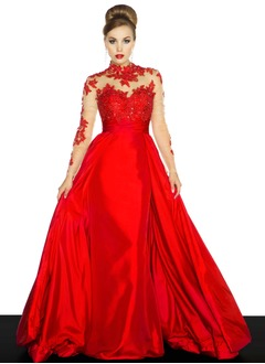 Ball-Gown High Neck Sweep Train Taffeta Evening Dress With Appliques Lace