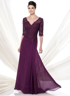 A-Line/Princess V-neck Sweep Train Chiffon Mother of the Bride Dress With Lace