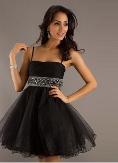 A-Line/Princess Short/Mini Organza Charmeuse Prom Dress With Ruffle Beading