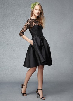 A-Line/Princess Scoop Neck Knee-Length Taffeta Lace Bridesmaid Dress