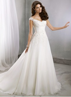 A-Line/Princess V-neck Court Train Chiffon Wedding Dress With Beading Appliques Lace