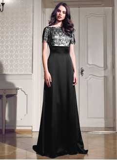 A-formet/Prinsesse Scoop Hals Sweep/Børste train Charmeuse Festkjole med Lace