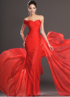 Trumpet/Mermaid Sweetheart One-Shoulder Sweep Train Chiffon Evening Dress With Ruffle