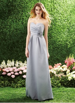 A-Line/Princess Strapless Sweetheart Floor-Length Satin Bridesmaid Dress With Ruffle Flower(s)
