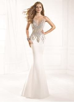 Trumpet/Mermaid Scoop Neck Sweep Train Satin Tulle Evening  ...