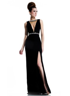 Sheath/Column Scoop Neck Floor-Length Chiffon Evening Dress With Beading Split Front