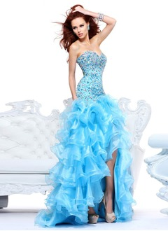 Trumpet/Mermaid Strapless Sweetheart Asymmetrical Organza Prom Dress With Beading Split Front Cascading Ruffles