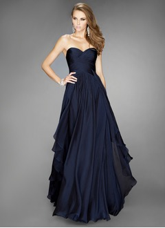 A-Line/Princess Strapless Sweetheart Floor-Length Satin Chiffon Evening Dress With Ruffle