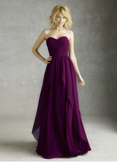 A-Line/Princess Strapless Sweetheart Floor-Length Chiffon Bridesmaid Dress With Ruffle