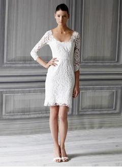 Sheath/Column Square Neckline Short/Mini Lace Wedding Dress