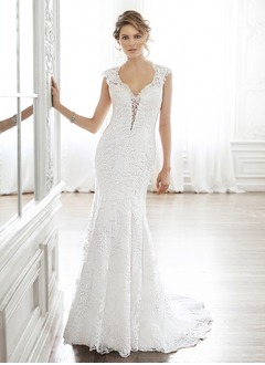Trumpet/Mermaid V-neck Court Train Satin Lace Wedding Dress