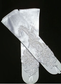 Elastic Satin Elbow Length Bridal Gloves (01405017744)