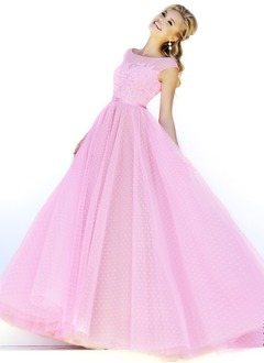 Ball-Gown Square Neckline Floor-Length Tulle Prom Dress With  ...