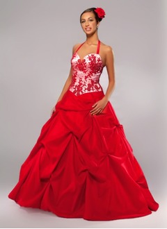 Ball-Gown Halter Floor-Length Taffeta Quinceanera Dress With Lace Beading