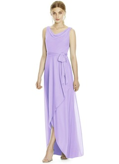 A-Line/Princess Scoop Neck Floor-Length Chiffon Bridesmaid Dress With Bow(s) Split Front