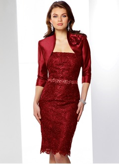 Sheath/Column Strapless Knee-Length Taffeta Lace Mother of the Bride Dress With Lace Beading