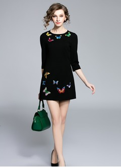 Black Cotton Blends Animal 3/4 Sleeves Above Knee Dresses