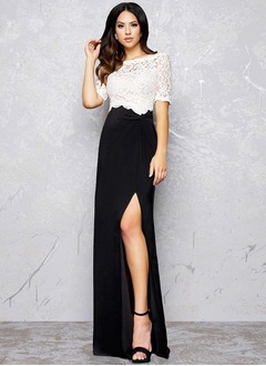 Sheath/Column Scoop Neck Sweep Train Lace Jersey Evening Dress With Split Front