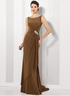 Sheath/Column Scoop Neck Sweep Train Jersey Mother of the Bride Dress With Ruffle Beading
