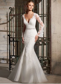 Trumpet/Mermaid V-neck Sweep Train Organza Tulle Lace Wedding Dress With Beading