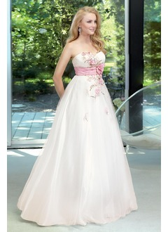 Ball-Gown Sweetheart Floor-Length Taffeta Tulle Prom Dress With Sash Beading Flower(s) Sequins