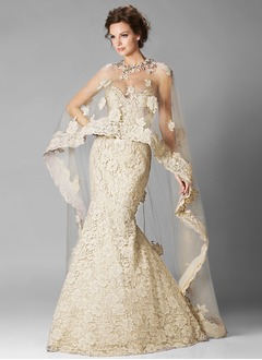 Trumpet/Mermaid Strapless Sweetheart Floor-Length Tulle Lace Evening Dress With Beading Appliques Lace