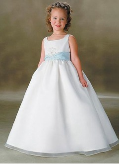 A-Line/Princess Scoop Neck Floor-Length Organza Satin Flower Girl Dress With Sash Beading