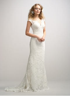 Sheath/Column V-neck Sweep Train Charmeuse Lace Wedding Dress