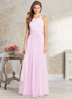 A-Line/Princess Scoop Neck Floor-Length Tulle Lace Bridesmaid Dress With Lace