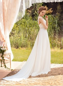 A-Line/Princess V-neck Sweep Train Watteau Train Chiffon Wedding Dress With Ruffle Beading