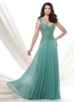 A-Line/Princess Scoop Neck Floor-Length Chiffon Tulle Mother of the Bride Dress With Lace Appliques Lace