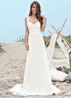 A-Line/Princess Sweetheart Sweep Train Charmeuse Wedding Dress With Lace