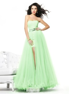 A-Line/Princess Sweetheart Detachable Tulle Charmeuse Prom Dress With Beading