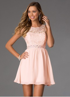 A-Line/Princess Scoop Neck Short/Mini Chiffon Lace Homecoming Dress With Beading