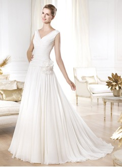 A-Line/Princess V-neck Court Train Chiffon Wedding Dress With Ruffle Flower(s)