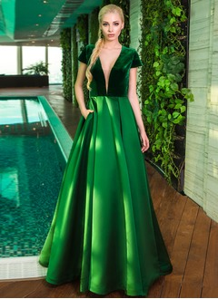 Ball-Gown V-neck Floor-Length Satin Velvet Evening Dress
