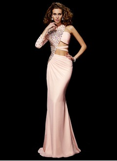 Sheath/Column One-Shoulder High Neck Sweep Train Chiffon Evening Dress With Beading