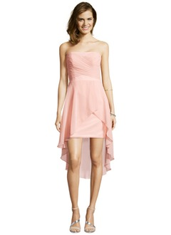 A-Line/Princess Strapless Asymmetrical Chiffon Cocktail Dress With Ruffle