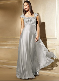Empire Square Neckline Floor-Length Chiffon Mother of the Bride Dress With Beading Appliques Lace Sequins